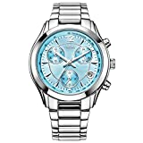 CENXINO Women Dress Wrist Watches With Blue Dial Date Stainless Steel Bracelet Multifunction watch
