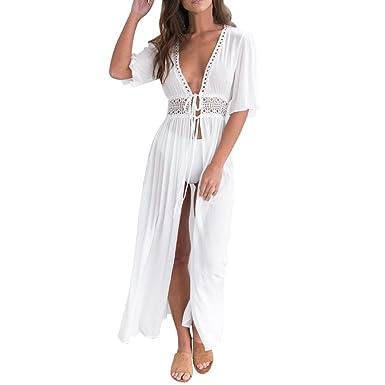 3b285c14d4 Lamolory Summer Womens Beach Wear Cover up Swimwear Bikini V-Neck Long Maxi  Beach Dress Bathing Suit - White - Small: Amazon.co.uk: Clothing