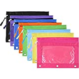 BBTO Pencil Pouch 3 Ring Binder Pencil Bags with Zipper Pulls for Office School Supplies, 8 Colors (8)