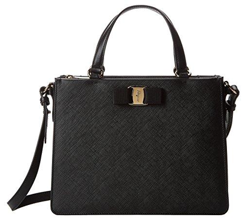 (Salvatore Ferragamo Women's Tracy Calfskin Leather Handle Bag (One Size, Black))