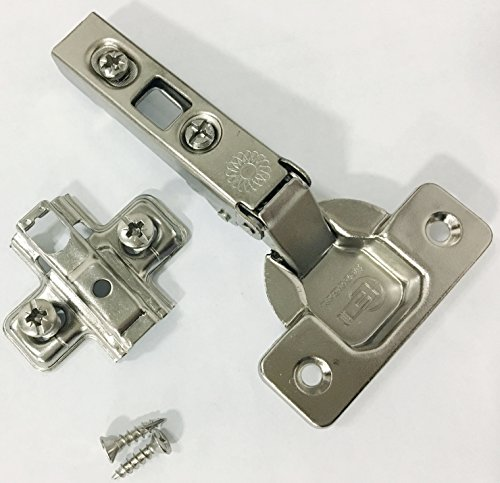 Ferrari Cabinet Hinges - Ferrari IC Clip-On Hinge: Full Overlay, 110 Degree Screw On, Self Closing w/ 2.0 mm Pre-mounted Euro-Screw Adapter Plate Pair