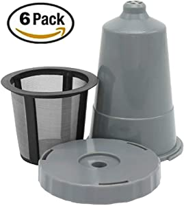 Reusable K Cups For Keurig 1.0 Brewers Universal Fit For B30 B40 B50 B60 B70 K15, Easy To Use Refillable Single Cup, Eco Friendly Stainless Steel Mesh Filter (Pack of 6 + brush)