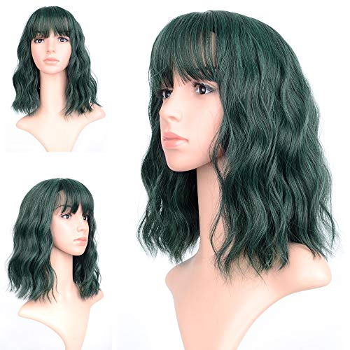 Wavy Wig Short Bob Wigs With Air Bangs Shoulder Length Women's Short Wig Curly Wavy Synthetic Cosplay Wig Pastel Bob Wig for Girl Costume Wigs green color