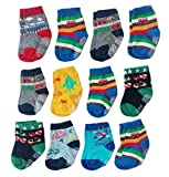 Deluxe Anti Non Skid Slip Slipper Crew Socks With Grips For Baby Toddler Boys (12-24 Months, 12-pairs/assorted)