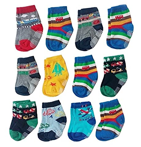 Deluxe Anti Non Skid Slip Slipper Crew Socks With Grips For Baby Toddler Boys (9-18 Months, 12-pairs/assorted)