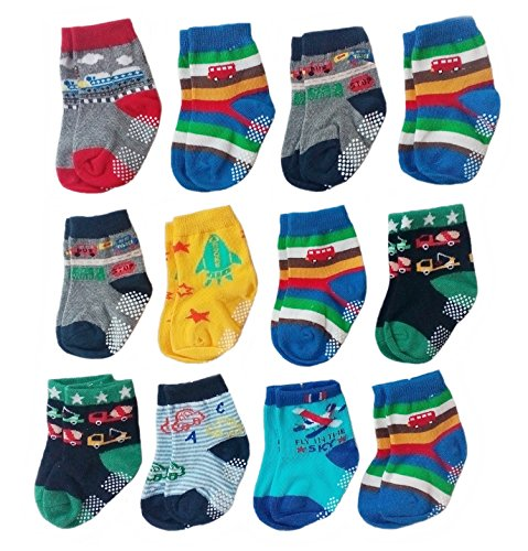 Deluxe Anti Non Skid Slip Slipper Crew Socks With Grips For Baby Toddler Boys (6-12 Months, 12-pairs/assorted)