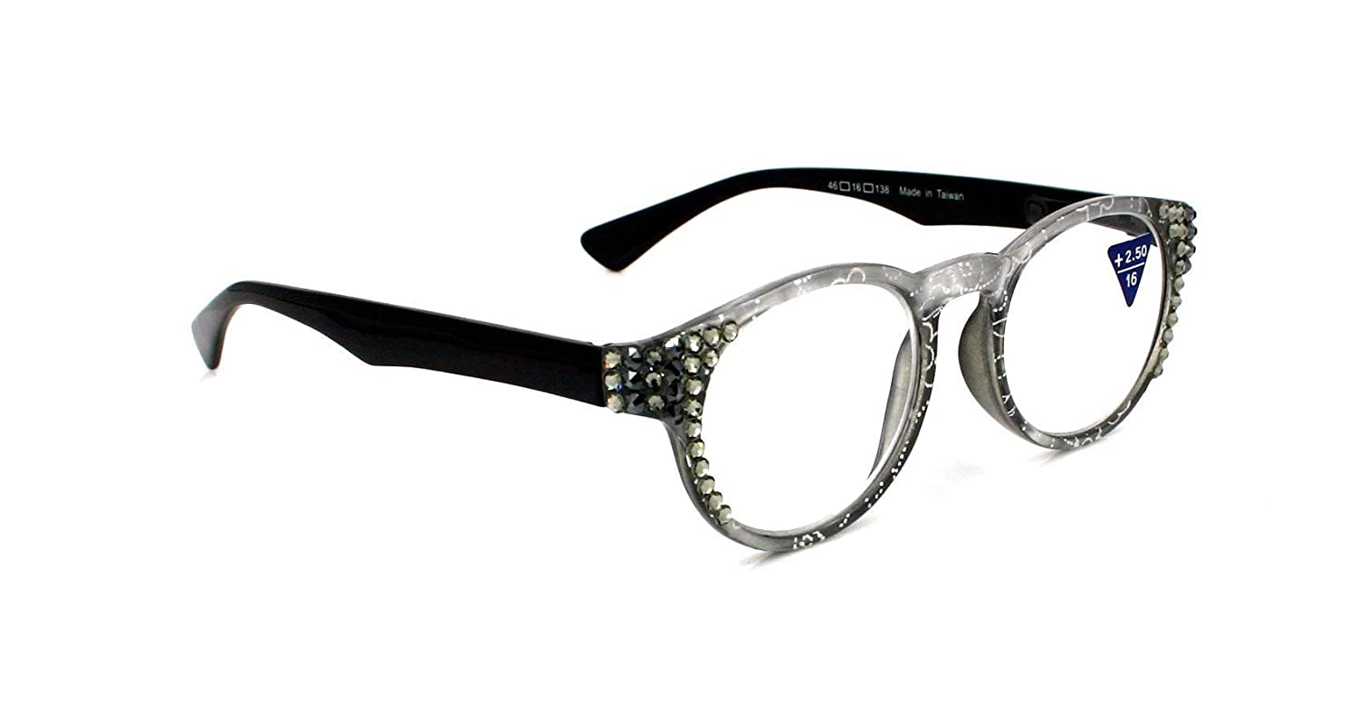 Metallic Translucent Women Reading Glasses Adorned with Swarovski Crystals +1.50, 2.00, 2.50, 3.00. Metallic Black/Fuchsia / Yellow/Orange