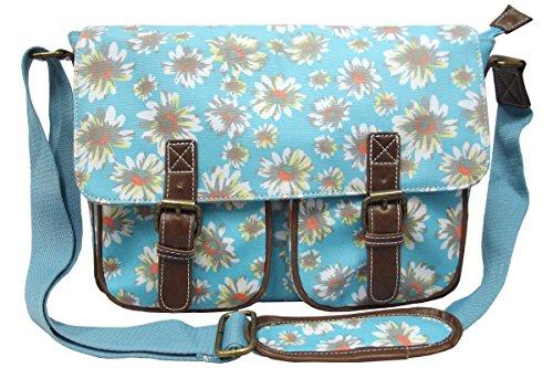 City Girl/Anna Smith Polka Dot, Daisy Flower (Floral) Satchel / Ladies Girls Spot Print Shoulder Bag / School (University) Cross Body Bag Medium Size Daisy Light Blue