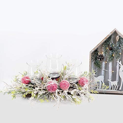 Lubao Christmas Poinsettia Candle Holder Artificial Christmas Centerpiece Wreath