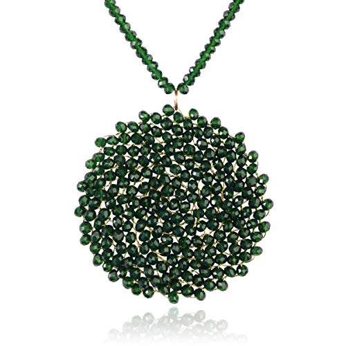 RIAH FASHION Bohemian Pendant Beaded Long Statement Necklace - Sparkly Crystal Bead Boho Braided Disc Wired Round Circle Charm (Round - Green)
