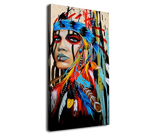 (Large Canvas Wall Art Native American Indian Beauty Painting Long Canvas Artwork Girl with Colorful Feathers Ethnologic Accessories Contemporary Picture for Home Office Wall Decor 24