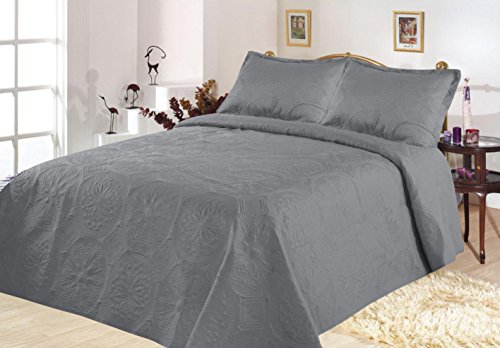 All American Collection New 3 Piece Solid Embroidered Bedspread/ Coverlet with Circle Design