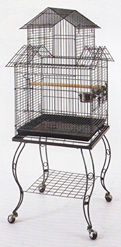 UPC 627837484058, 20-Inch Pagoda Roof Top Parrot Lovebird Cockatiel Cockatiels Parakeets Cage with Stand, Black Vein