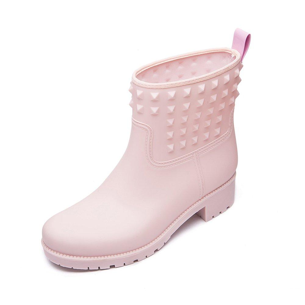 DKSUKO Women's Rain Boots with Fashion Rivet Short Ankle Waterproof Rubber Boots 3 Colors (9 B (M) US, Pink)