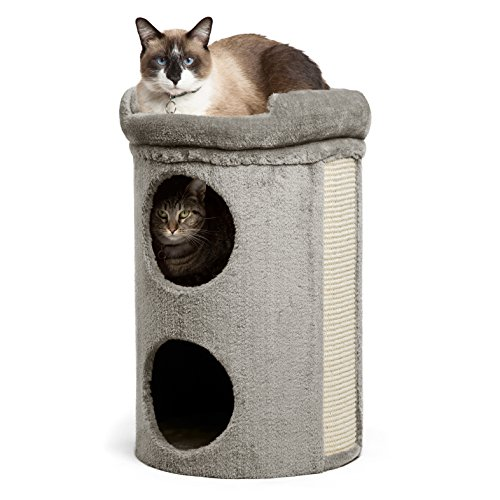 (Modern Kitty Penthouse Cat Tower in Winston, Grey, One Size)
