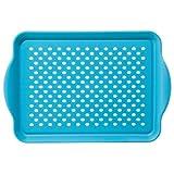Oggi 5504.6 Rectangle Non Skid Rubber Grip Serving Tray, Aqua