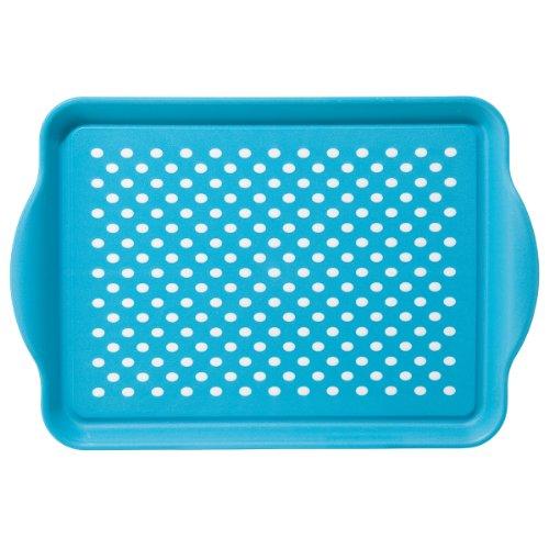 Oggi 5504.6 Rectangle Non Skid Rubber Grip Serving Tray, Aqua (Non Tray Skid Dinner)