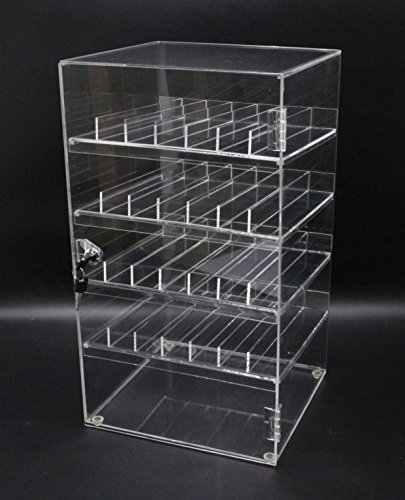 FixtureDisplays Clear Nail Polish Display Acrylic Locking Cabinet Plexiglass Cosmetic Case Lucite Locking Showcase w/4 Removable Trays 100829 by FixtureDisplays