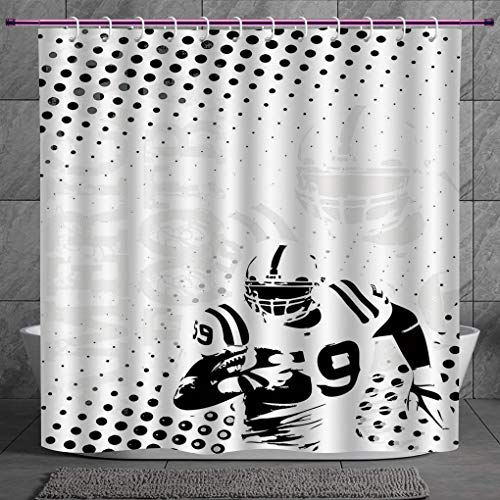 SCOCICI Funky Shower Curtain 2.0 [ Sports,American Football Character Running Passing Gridiron Goal Dotted Art Graphic Design,Black White ] Fabric Shower Curtain