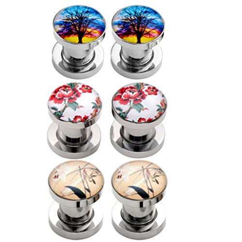 Plug Stainless Steel Ear (PiercingJ 6PCS 6G- 9/16