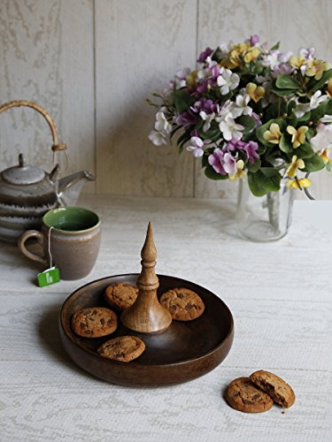 Thanksgiving Wooden Serving Tray Platter Hand Carved Cheese Biscuits Round Shaped Serveware Kitchen Accessories