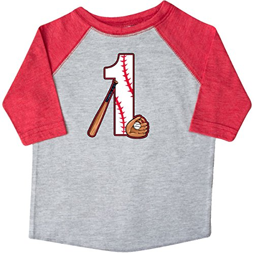 inktastic Baseball First Birthday- One Year Toddler T-Shirt 3T Heather and Red