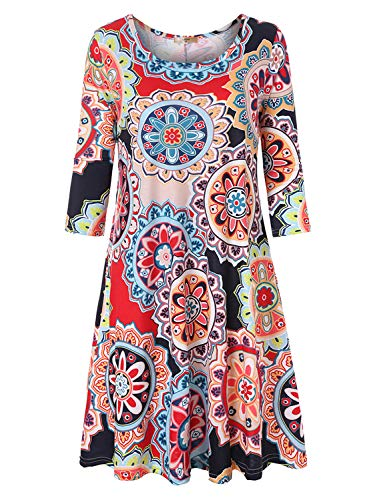 Luranee Dresses for Women Work Casual, Business Casual Clothes Flattering Shift Boho Dresses Misses Half Sleeve Knee Length Scoop Neck Flowy Flexible Unique Comfortable Floral Mid Long Tunics Large