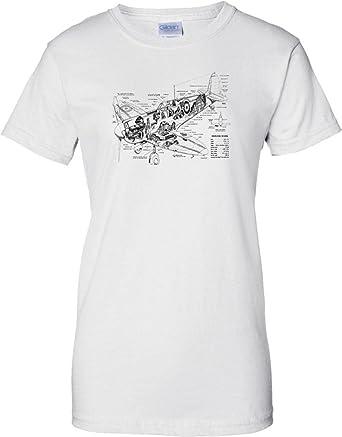 spitfire schematic diagram - ww2 fighter aircraft - ladies t shirt - white  - 12