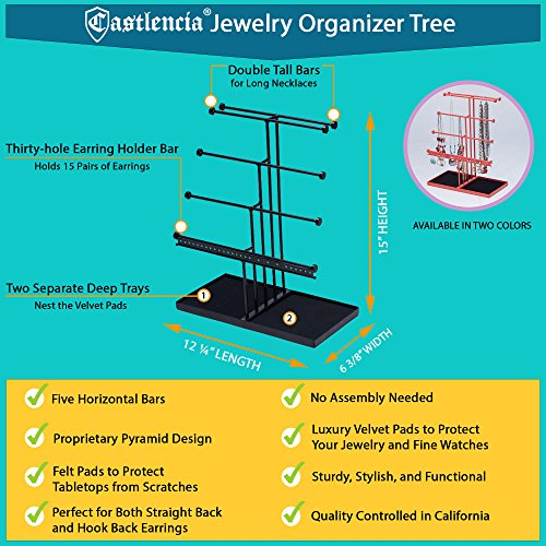 Castlencia Black Velvet Tray Extra Large 5 Tier Tabletop Bracelet, Necklace, Earring Display Jewelry Tree – Jewelry Organizer Holder - Perfect Gift by Castlencia (Image #2)