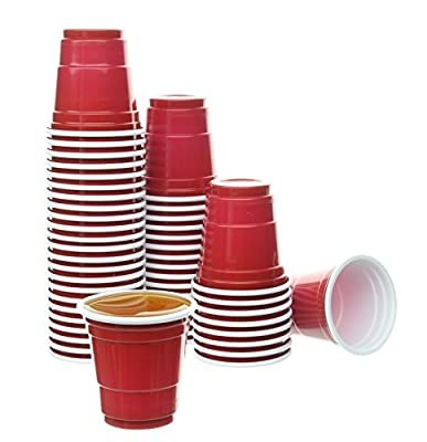 Party Bargains Mini Red Disposable Shot Glasses | Plastic Shot Cups, Jello Shots, Jager Bomb, Beer Pong, Perfect Size for Serving Condiments, Snacks, Samples and Tastings - 2oz | Pack of 120.