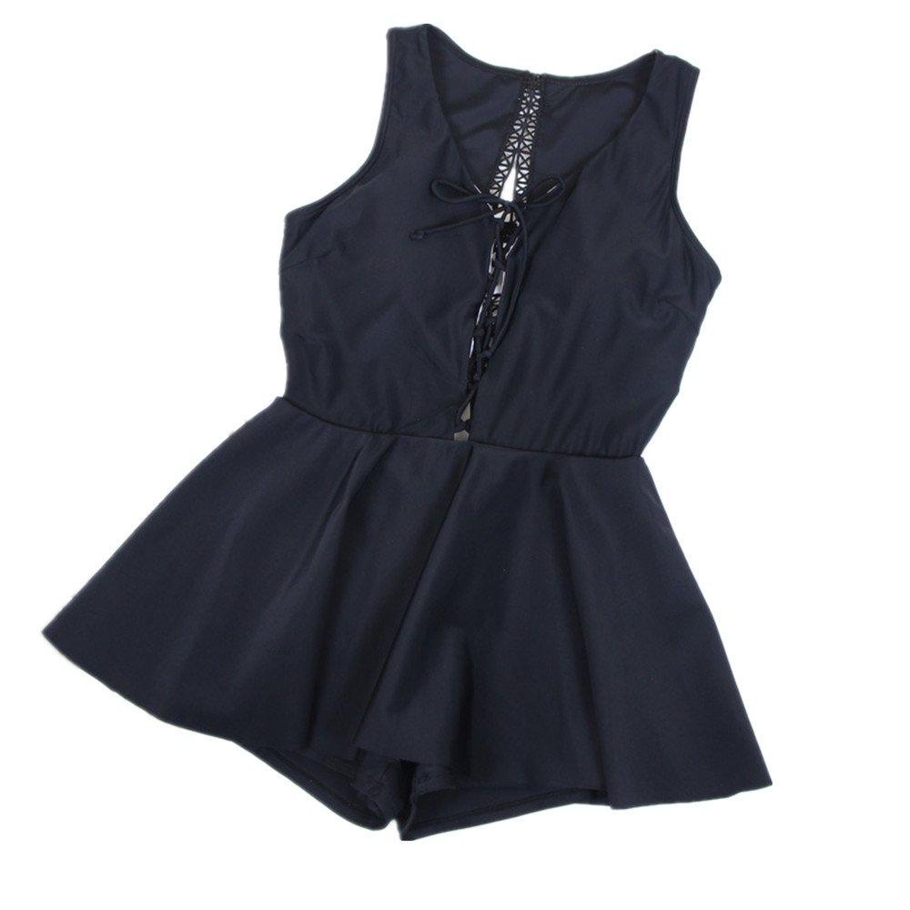女性の 水着 シャム 水着 保守的な ビーチ スパ 水着 に適用する カジュアル 旅行 (Color : Black, Size : XL) B07F43JZC2 X-Large|Black