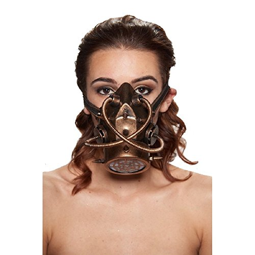 Steampunk Gas Mask with Spikes and Criss-Cross Tubing (Gold) (Gold Tubing)