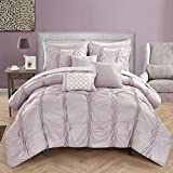Chic Home 10 Piece Tori Pinch Pleated, Ruffled And Pleated Complete Bed In A Bag Comforter Set Sheets Set And Deocrative Pillows Included, Queen, Lavender