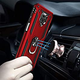 AE Mobile Accessories Ring Kickstand Phone Case for Poco M2 Pro, [Military Grade] Heavy Duty Dual Layer Drop Protection Hard Shell + Soft TPU + Ring Stand Fits Magnetic Car Mount (RED)