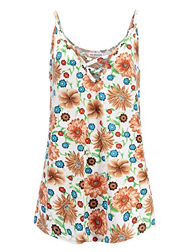 Womens Plus Size Cami V-Neck Basic Camisole Tank Top (Floral Print - White Sun Flower,2X)