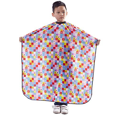 "KaHot Kids Haircut Salon Hairdressing Cape Child Styling Smock Cover Cloth Waterproof Shampoo & Cutting Household Capes,31""×47"" (1-Plaid)"