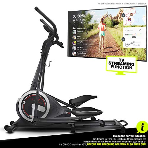 Sportstech Crosstrainer for at Home | Elliptical Trainer with Video Events & Multiplayer APP | 24 kg Flywheel | 26 Programmes + HRC | German Quality Brand for Fitness Equipment CX640 Exercise Bike