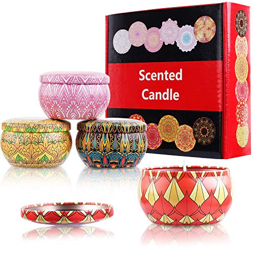 Bath Candle Scented Candles Gift Set, BBTO Lavender, Rose, Jasmine and Gardenia Natural Soy Wax Travel Tinplates Candle for Stress Relief Spa and Christmas Present, 4 Pieces