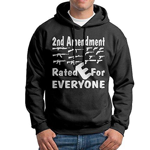 ZhiqianDF 2nd Amendment Rated E For Everyone Men's Pullover EcoSmart Fleece Hooded Sweatshirt Black M