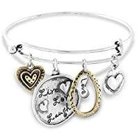 Live Love Laugh Wire Bangle Charm Bracelet Antiqued Two Tone Hearts