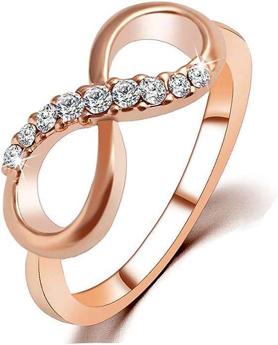 Hongding Pandora Bague en Or Rose Bague de fiançailles pour Le Mariage avec  Zircon cubique Infini pour Femmes