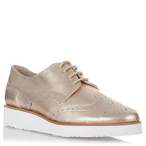 Zapatos Oxford Dorados de Mujer. Piel Oro