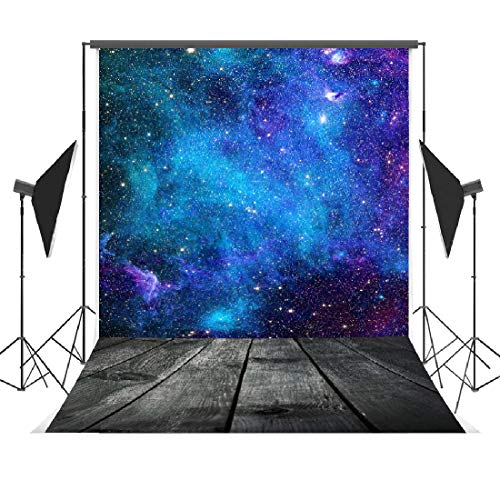 Galaxy Nature Background Backdrops 5x7ft Vinyl Wood Floor Photo Booth Backdrop Space Theme Party Decorations -