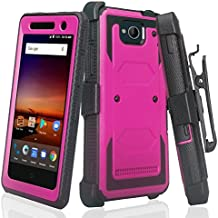 ZTE Majesty Pro Hard Case, ZTE Tempo Case, SOGA [TriGuard] Shockproof Rugged Hybrid Armor Case Cover with Belt Clip Holster & Built-in Screen Protector for ZTE Majesty Pro Z799VL - Purple