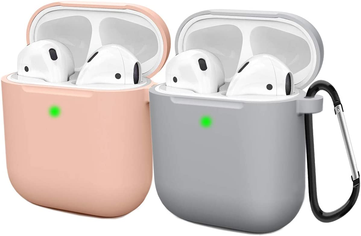 Compatible AirPods Case Cover Silicone Protective Skin for Apple Airpod Case 2&1 (2 Pack) Sand Pink/Gray