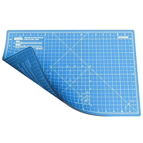 ANSIO A3 Double Sided Self Healing 5 Layers Cutting Mat Imperial/Metric 17 Inch x 11 Inch/44 cm x 29 cm - True Blue/Sky Blue