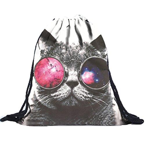 Donalworld Fabric Drawstring Bag Printed Backpack Shopping Outdoor Sack Bags Pattern9