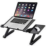 Portable Adjustable Laptop Stand Aluminum Folding Laptop Stand/Desk/Table Notebook with 2 CPU Cooling Fan Mouse Pad Multifuctional and Ergonomics Design Dual Layer Light Weight 17'' (BLACK)