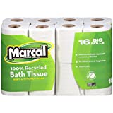 Marcal 1646616PK 100% Recycled Two-Ply Bath Tissue, White, (Pack of 16 rolls)