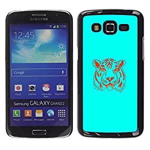 // PHONE CASE GIFT // Duro Estuche protector PC Cáscara Plástico Carcasa Funda Hard Protective Case for Samsung Galaxy Grand 2 / Neon Blue Tiger /
